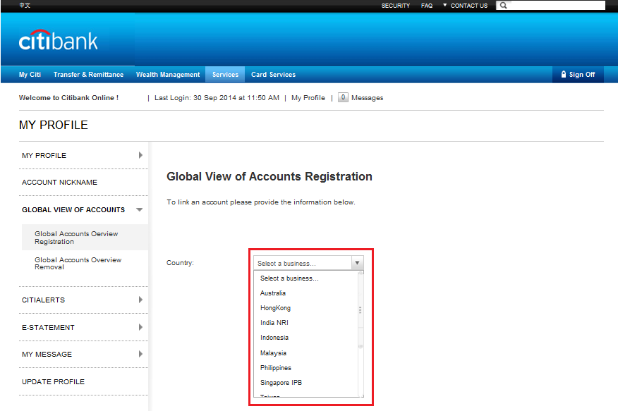 Citibank Account Online >> Account Services